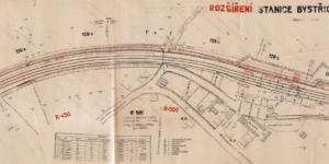 Bystřice u Benešova; rozšíření stanice; kolejový plán; 1947