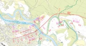 Situační mapa - optimalizovaný úsek - detail Čelákovice
