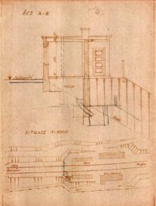Strašnice - návrh nového traťového hradla s vyznačenými doporučenými změnami; listopad 1948