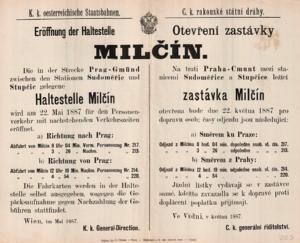 Zastávka Milčín/Miličín/Mezno.