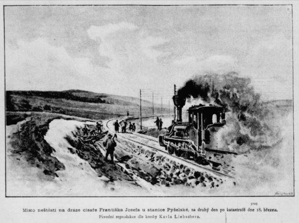 Místo neštěstí druhý den po katastrofě | Zdroj: Zlatá Praha 29.3.1889 |