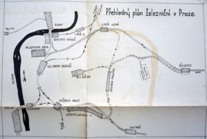 Přehledný plán železniční v Praze