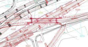 Schéma nového přemostění silnice nad tratí.