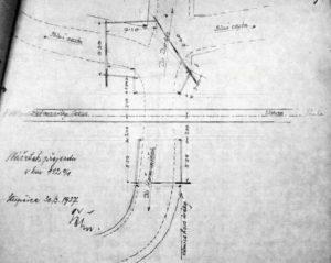 Nacrtek prejezdu v km 112,083 dle stavu v roce 1937 (pred prestavbou)