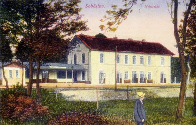 Soběslavské nádraží v roce 1905 Autor: Z knihy P. Lintnera Pohledy Soběslavské